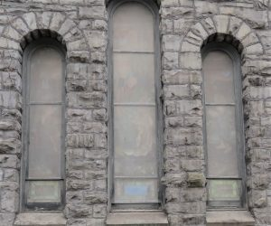 Damaged stained glass window frames