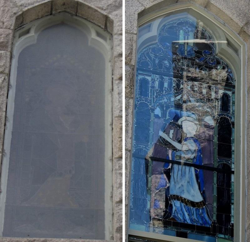 John LeFarge Stained Glass window  hurricane code protective coverings St Luke's Episcopal in East Greenwich, RI