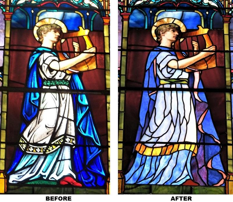 John LeFarge stained glass repair and restoration for St Luke's Episcopal in East Greenwich, RI - Before & After