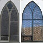 church stained glass windows, stained glass window repair, stained glass window protective coverings, Ithaca NY