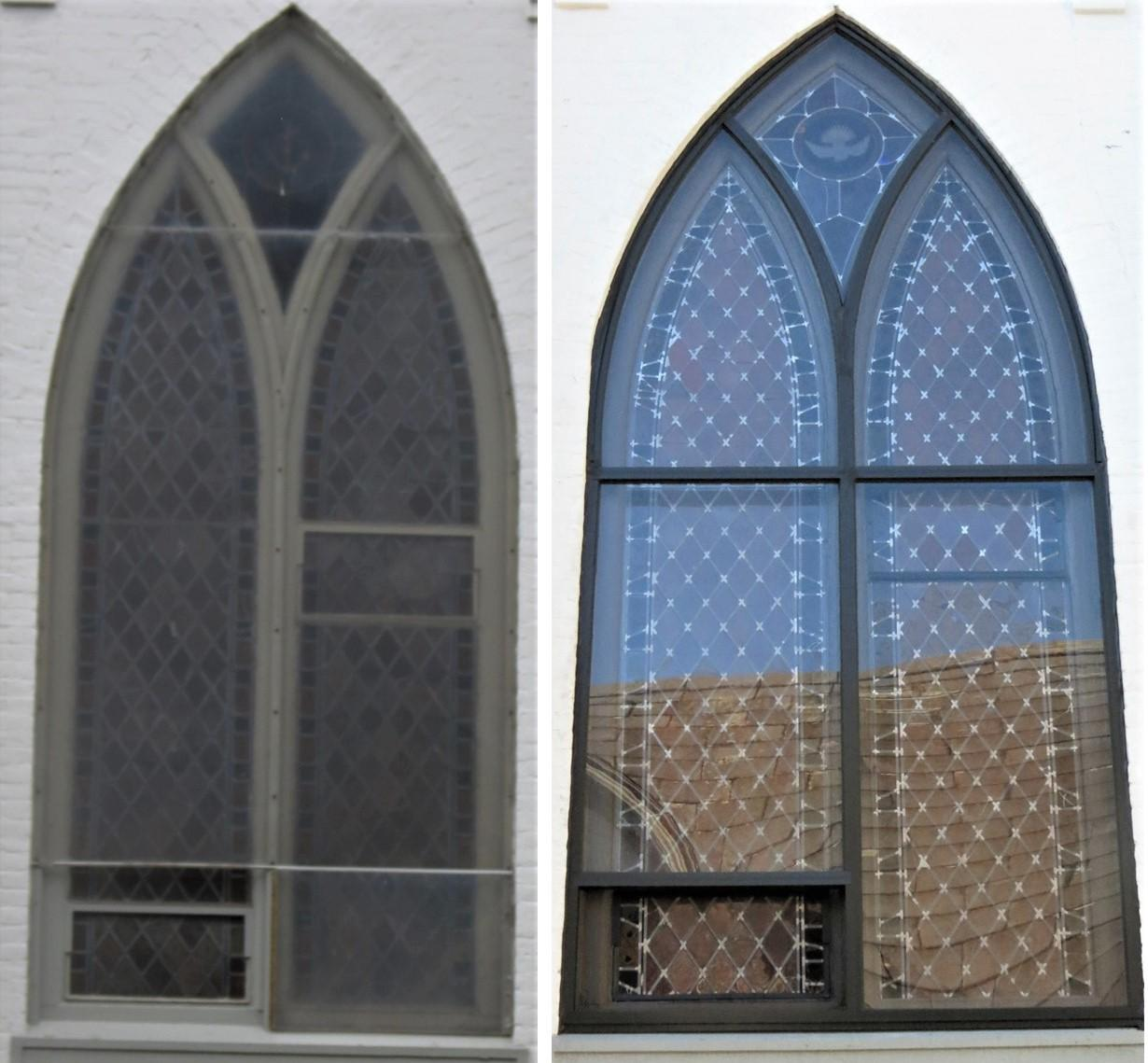 stained glass windows, stained glass window repair, stained glass window protective coverings