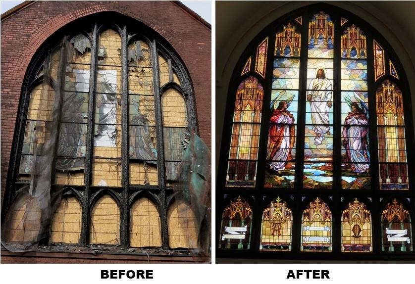 Brooklyn stained glass repair, church stained glass restoration, leaded glass window repair, nyc stained glass studio