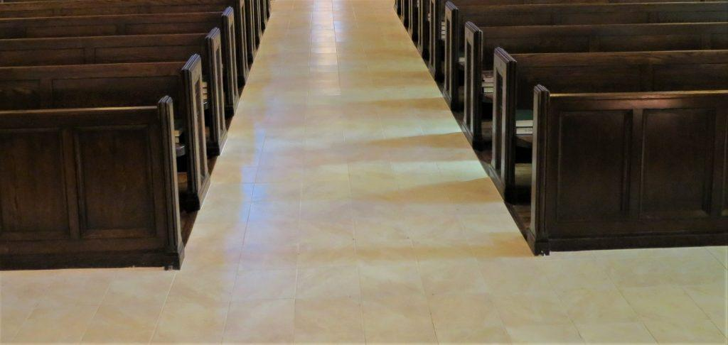 porcelain and vinyl tile, porcelain tile, porcelain flooring, porcelain church flooring, church flooring