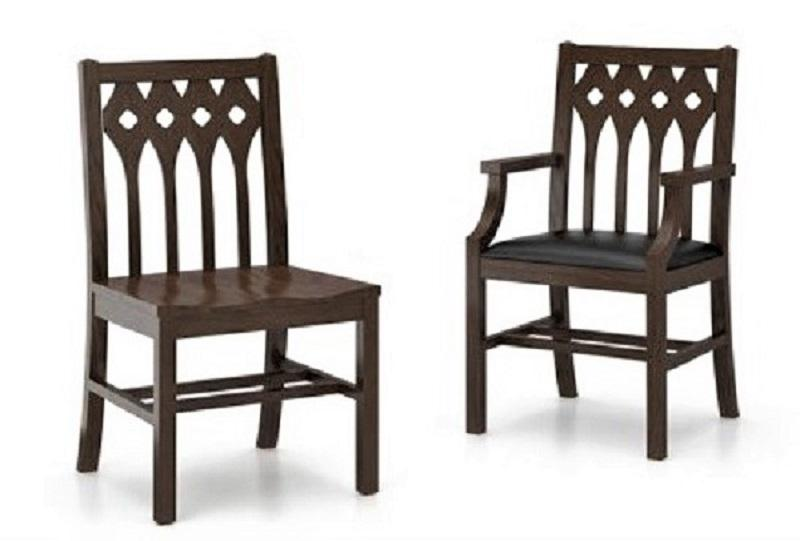 Gothic wood chair. Without and with arms