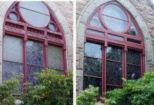 stained glass window repair, stained glass window frame repair, stained glass window protective glass, Newport RI