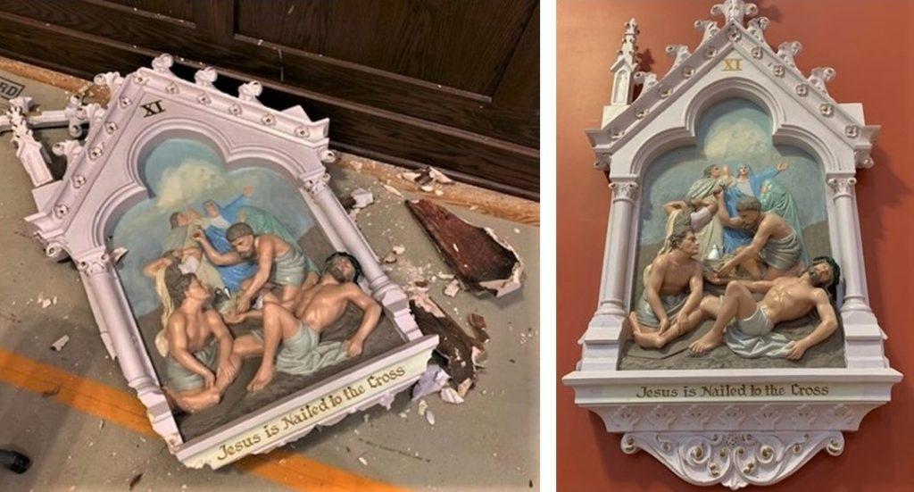 stations of the cross, stations of the cross repair, stations of the cross painting, New London CT