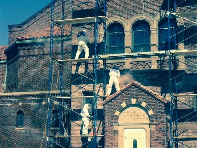 St. Ignatius Long Beach Brick repairs close up
