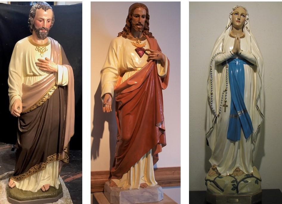 religious figures, church statues, staue painting, statue repainting