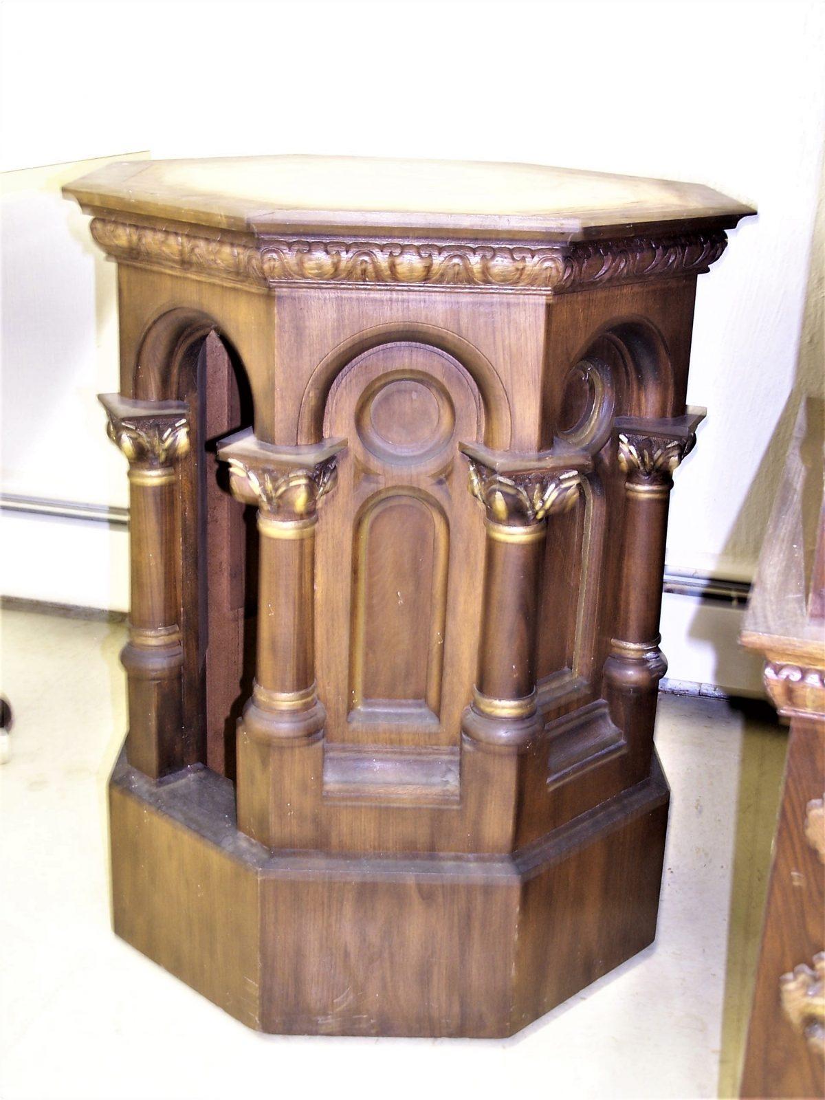 wood altar refinishing, pew refinishing