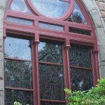 exterior church painting, church painter, church stained glass windows, stained glass window frame repair, Newport RI