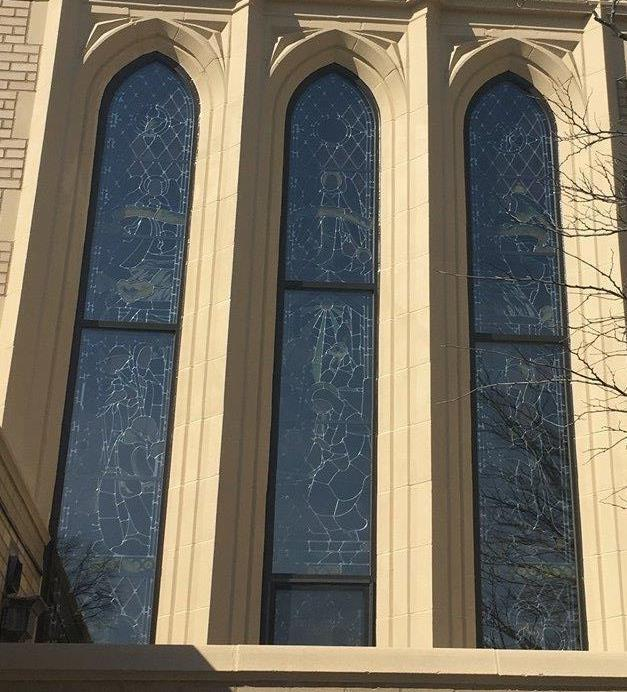 stained glass window repairs, stained glass window restoration, stained glass protective coverings.