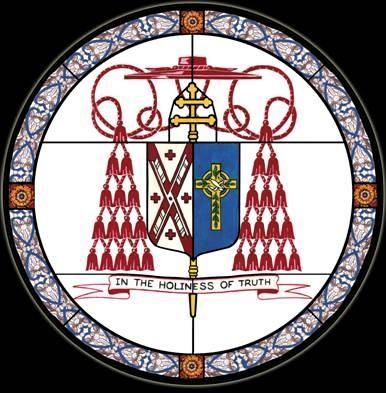 Edward Cardinal Egan. Coat of arms in stained glass