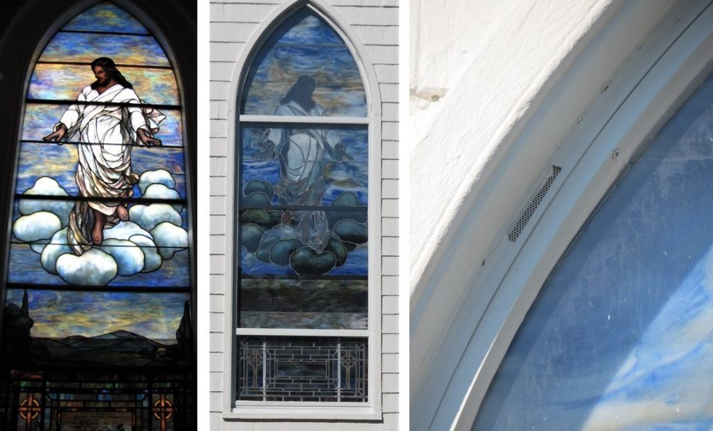 stained glass window repair, stained glass window restoration, stained glass window protective coverings.